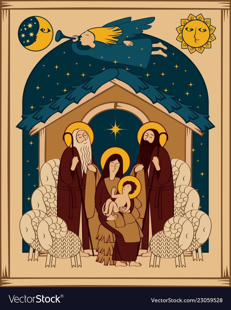 Adoration of the magi christmas nativity scene