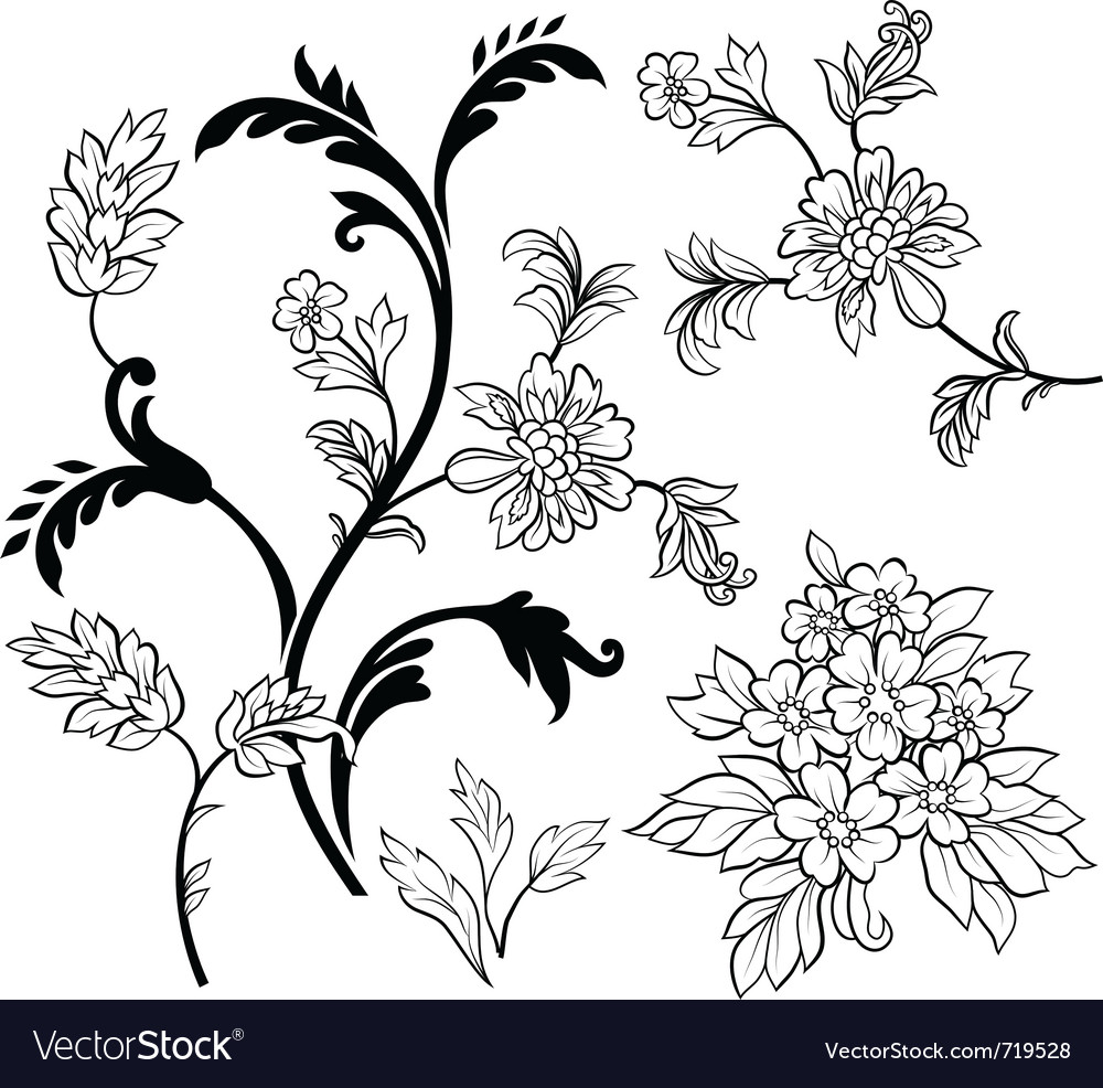 Black outline flower elements