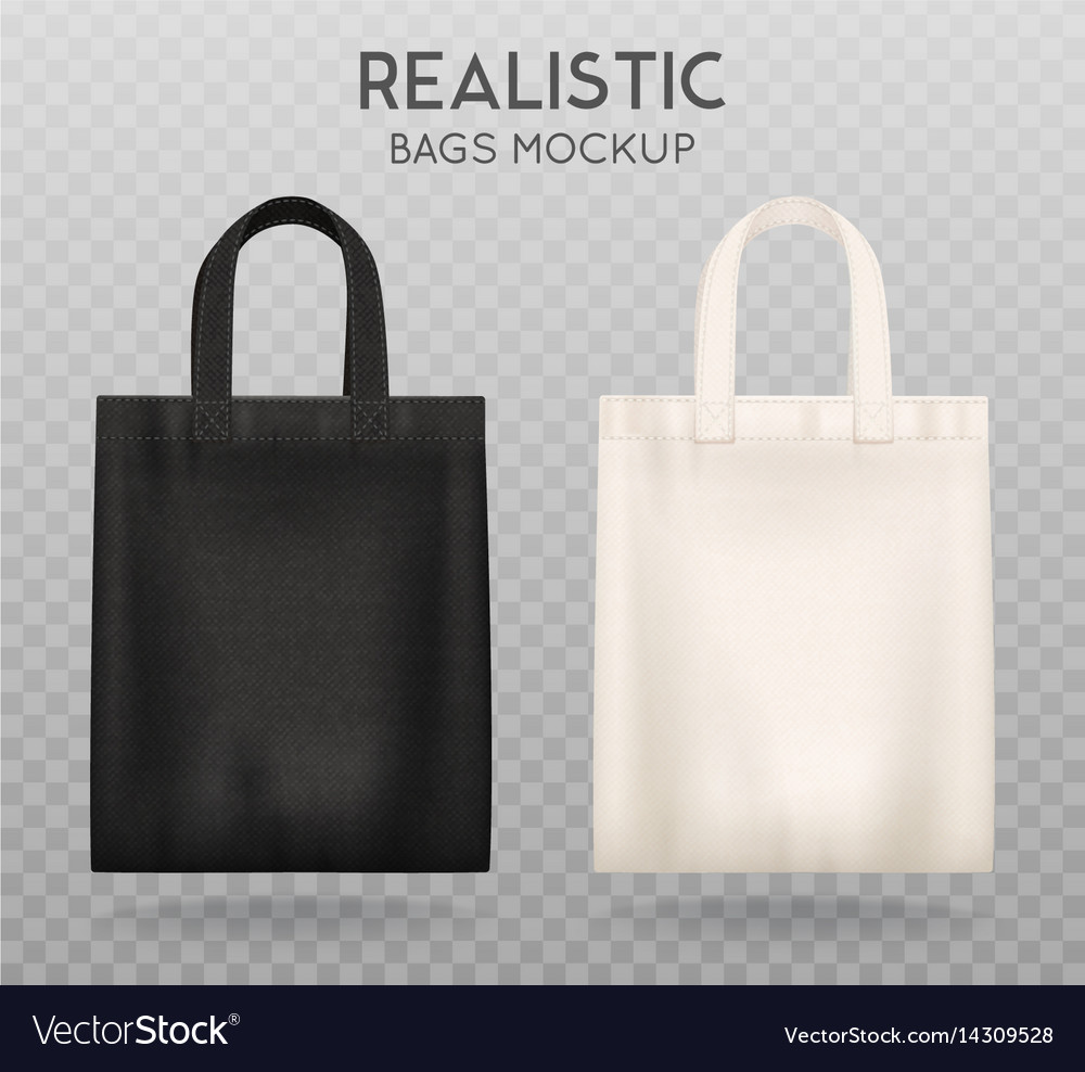 black white tote bags transparent background vector image