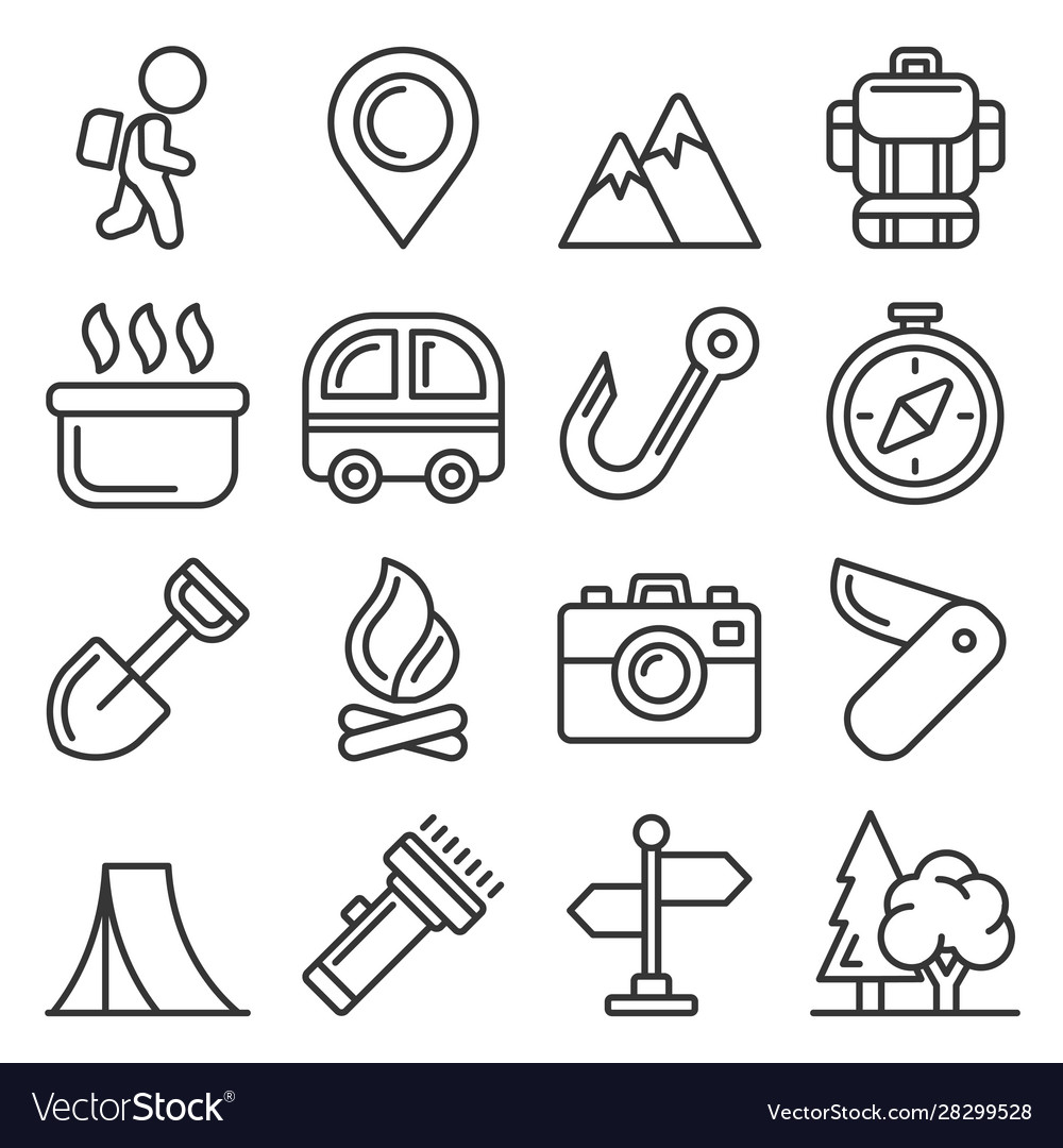 Camping icons set on white background line style