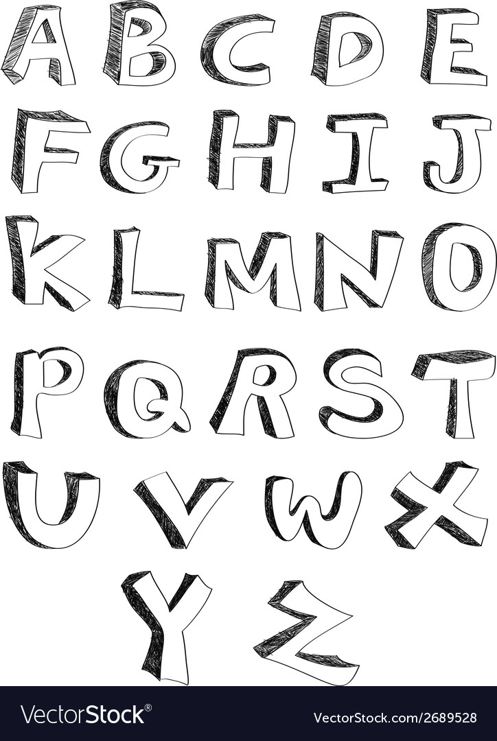 Hand written alphabets