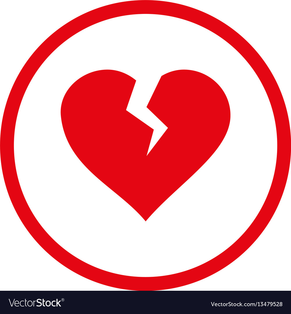 Heart Break Rounded Icon Royalty Free Vector Image