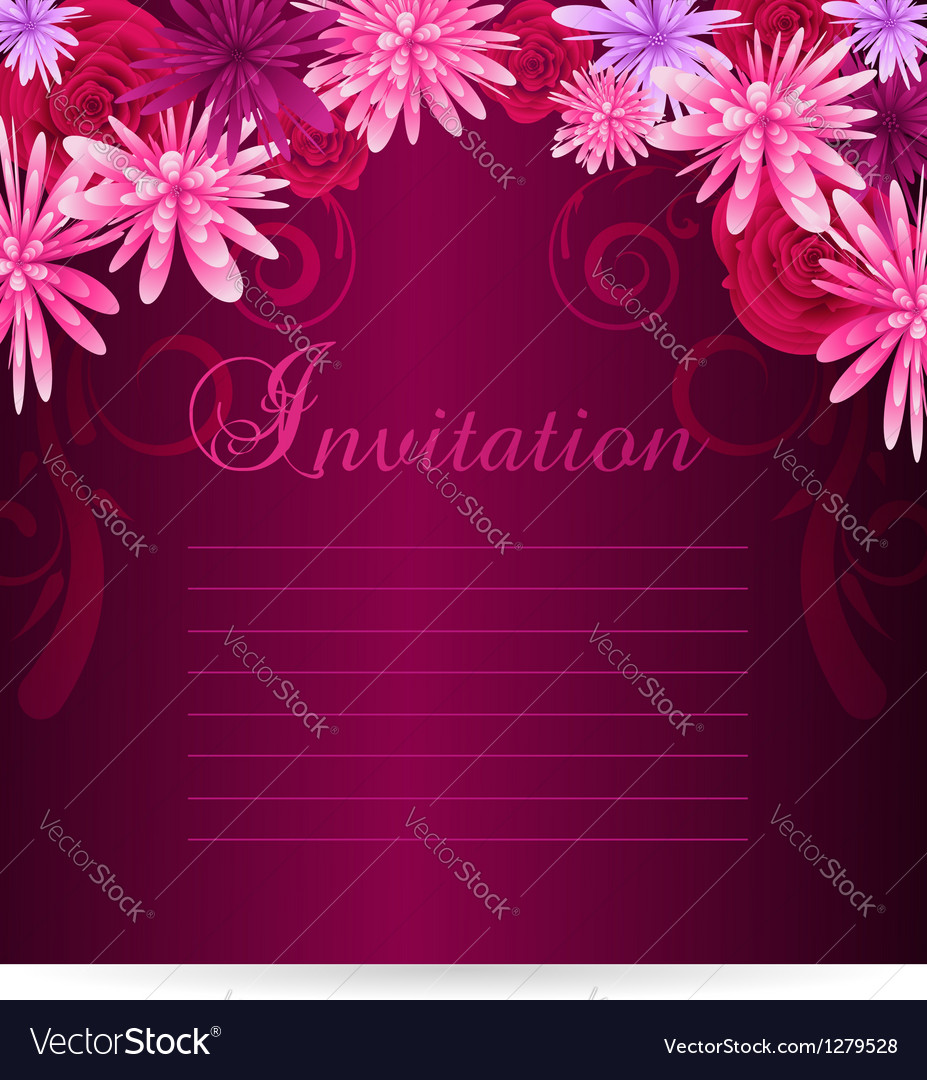 Invitation template with abstract flowers vector image
