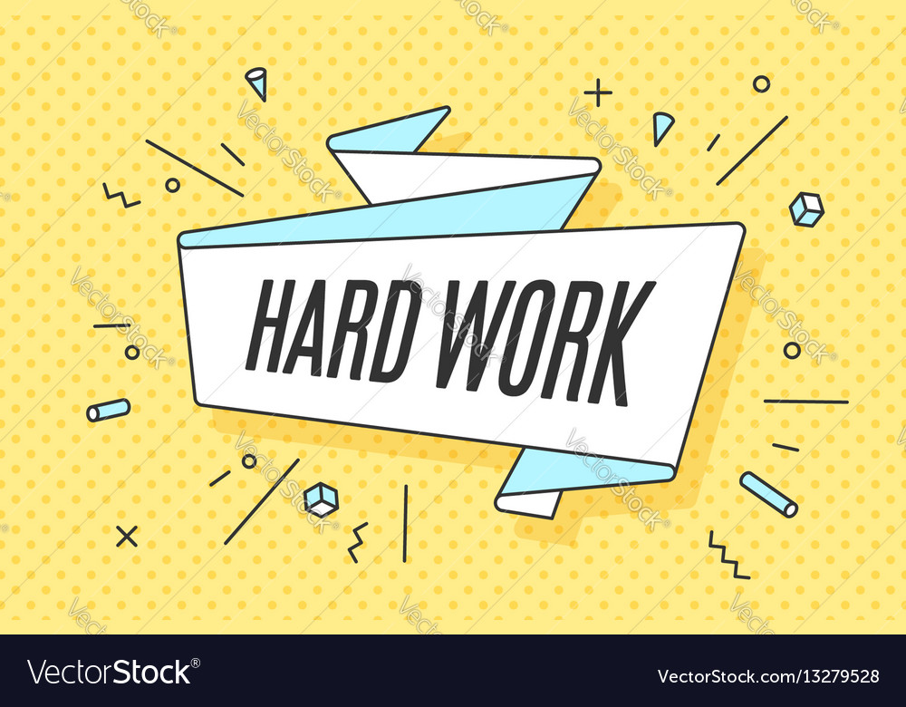 Ribbon banner with text hard work
