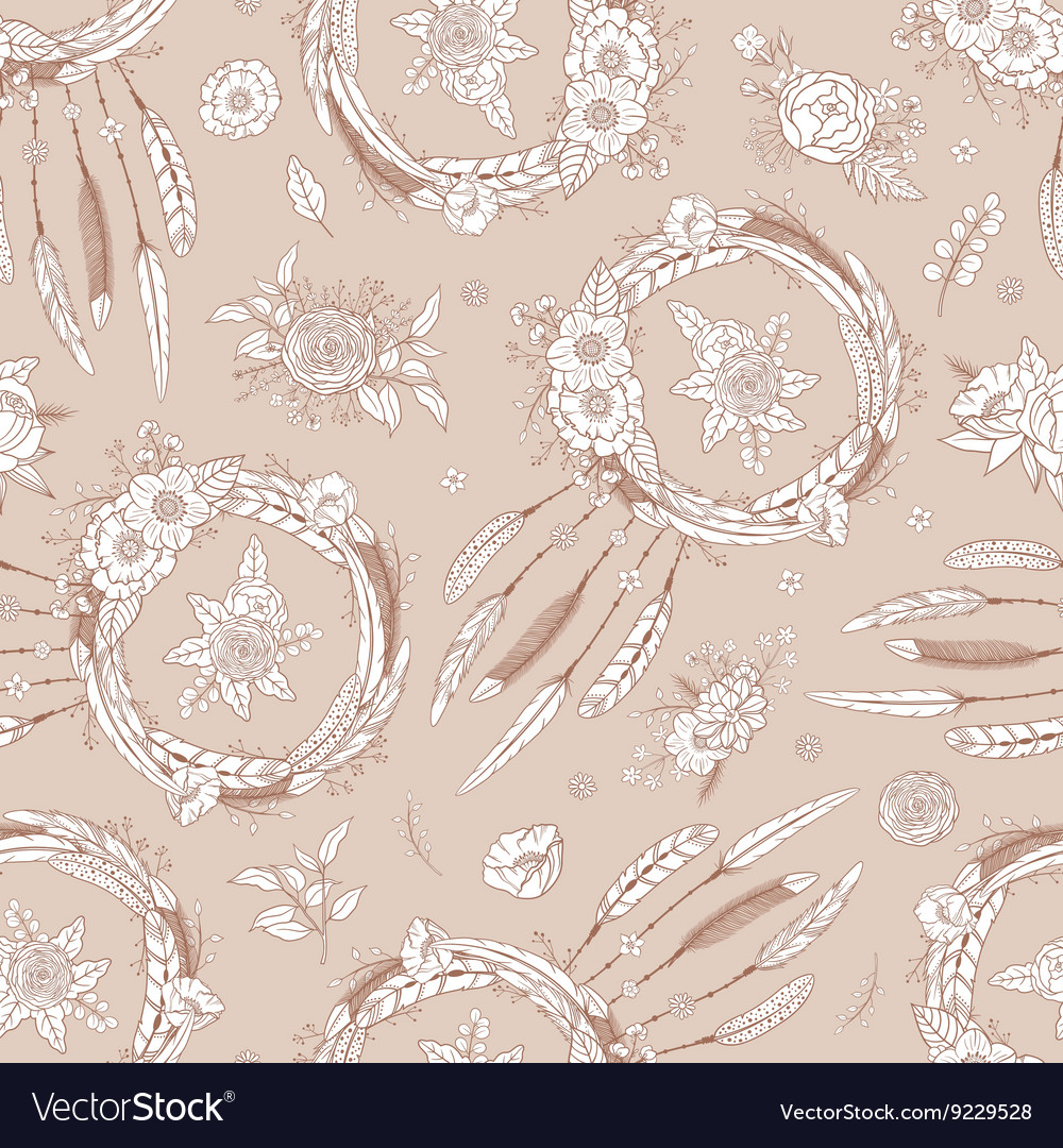 Seamless pattern with dreamcatchers