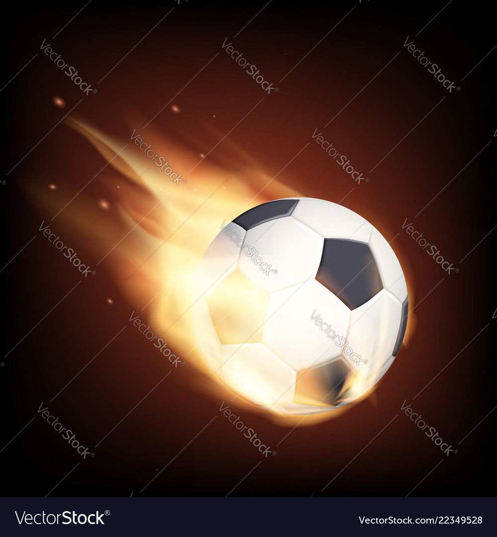 Soccer ball on fire isolated on a black