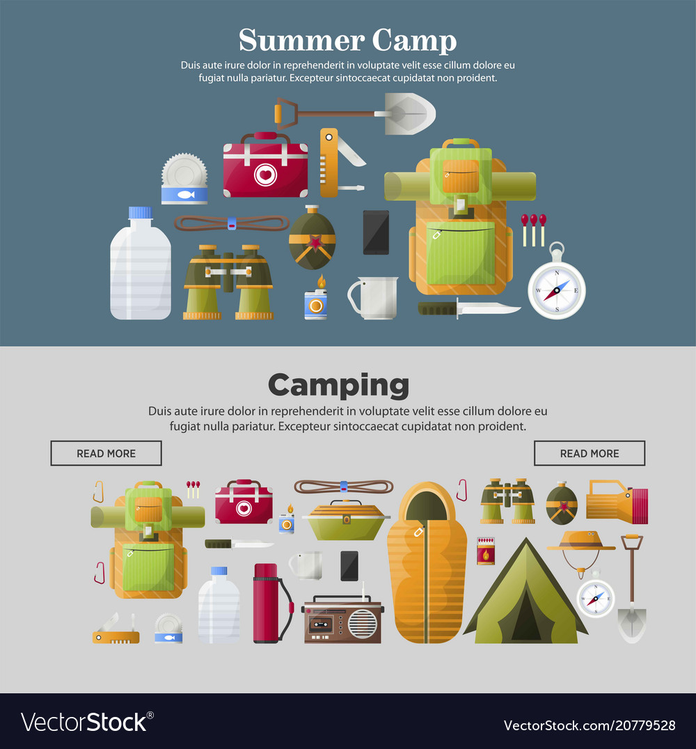 summer camp banners of camping tools royalty free vector