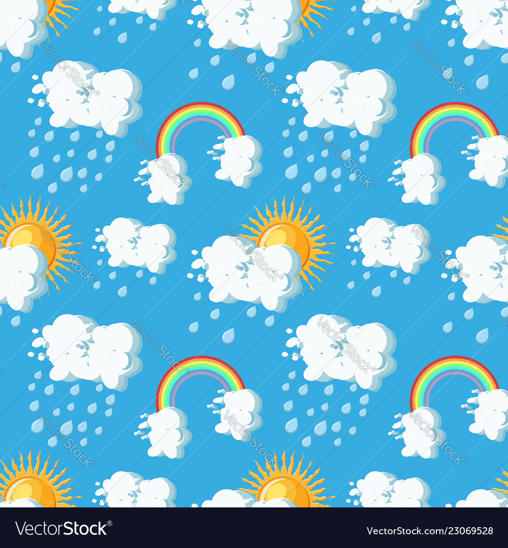 Summer weather seamless pattern with sun clouds