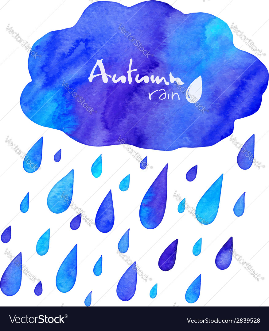 Watercolor painted autumn rain with cloud vector image