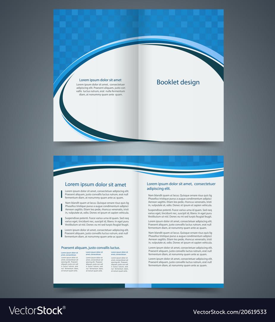 blue bifold brochure template design royalty free vector