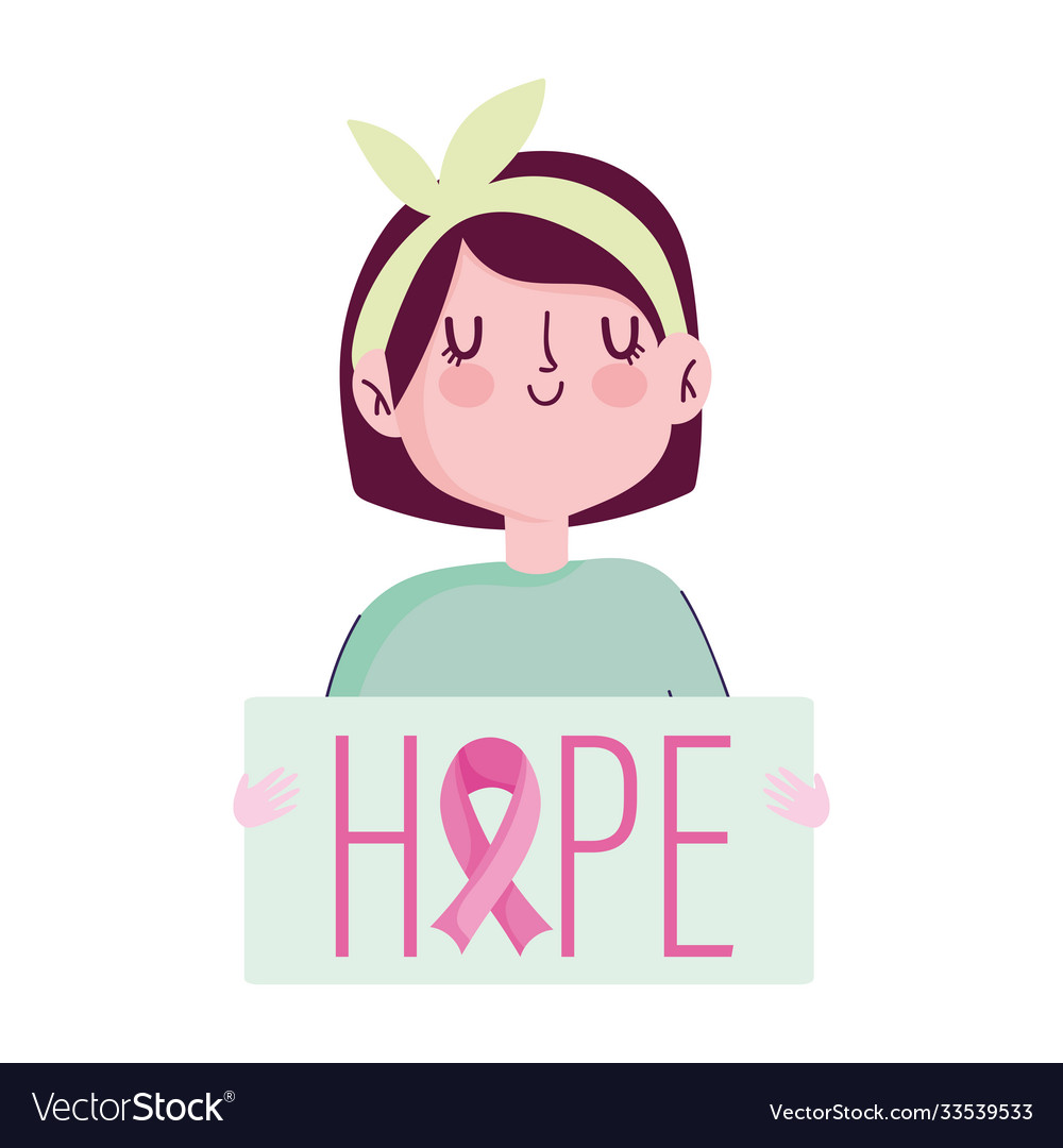 Breast cancer awareness month cute girl with hope
