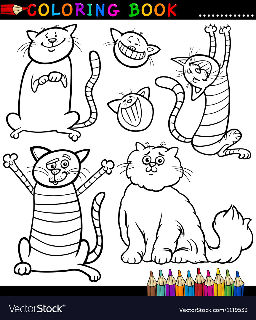 Cartoon Cats or Kittens Coloring Page Royalty Free Vector