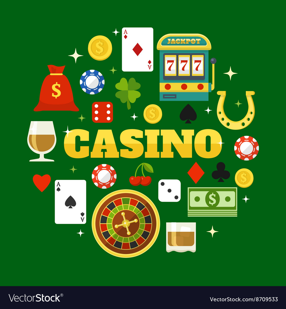 Elements Of Casino Flat Icons Set