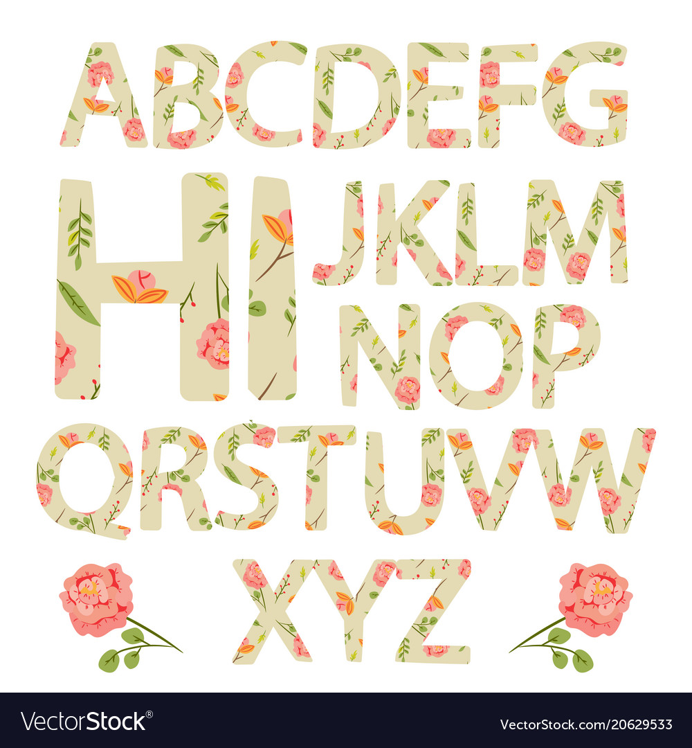 Flower alphabet with rose flowers and leaves