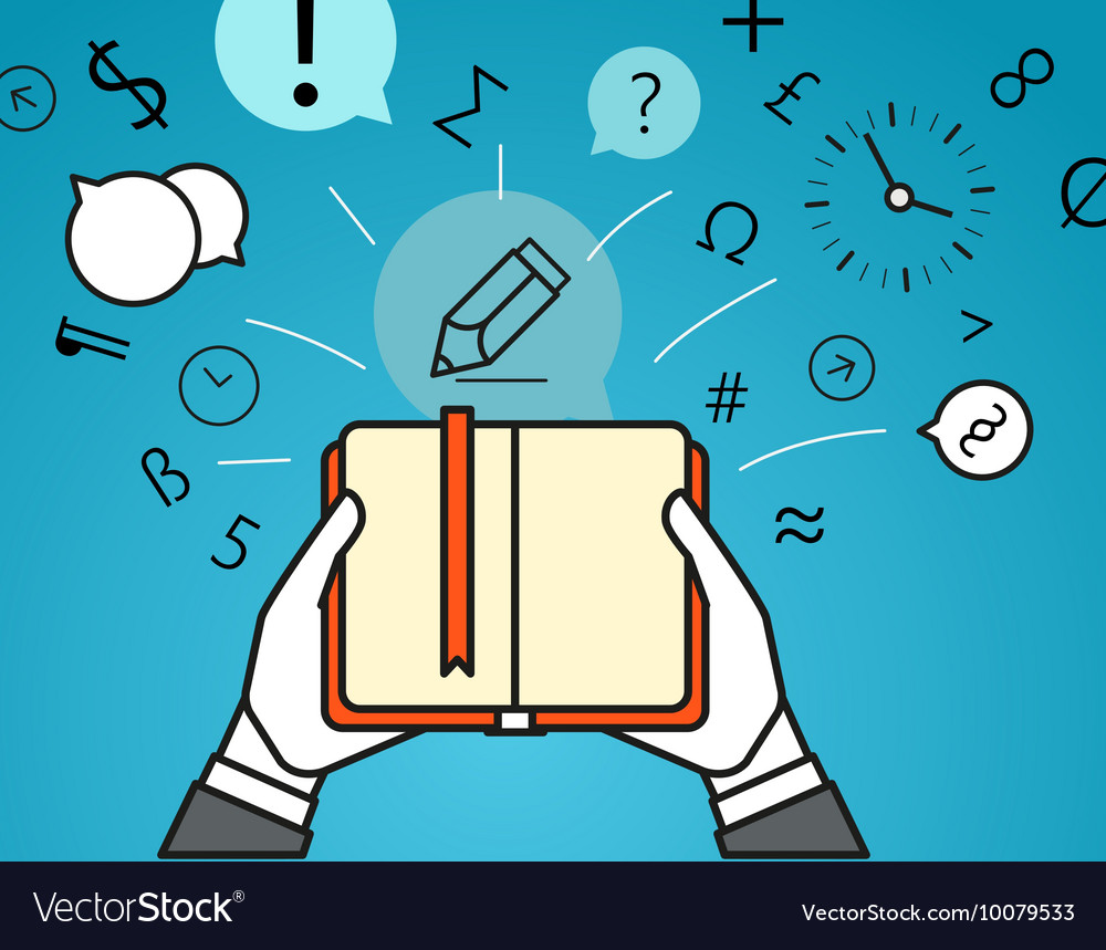 Getting information via book Simple line design vector image