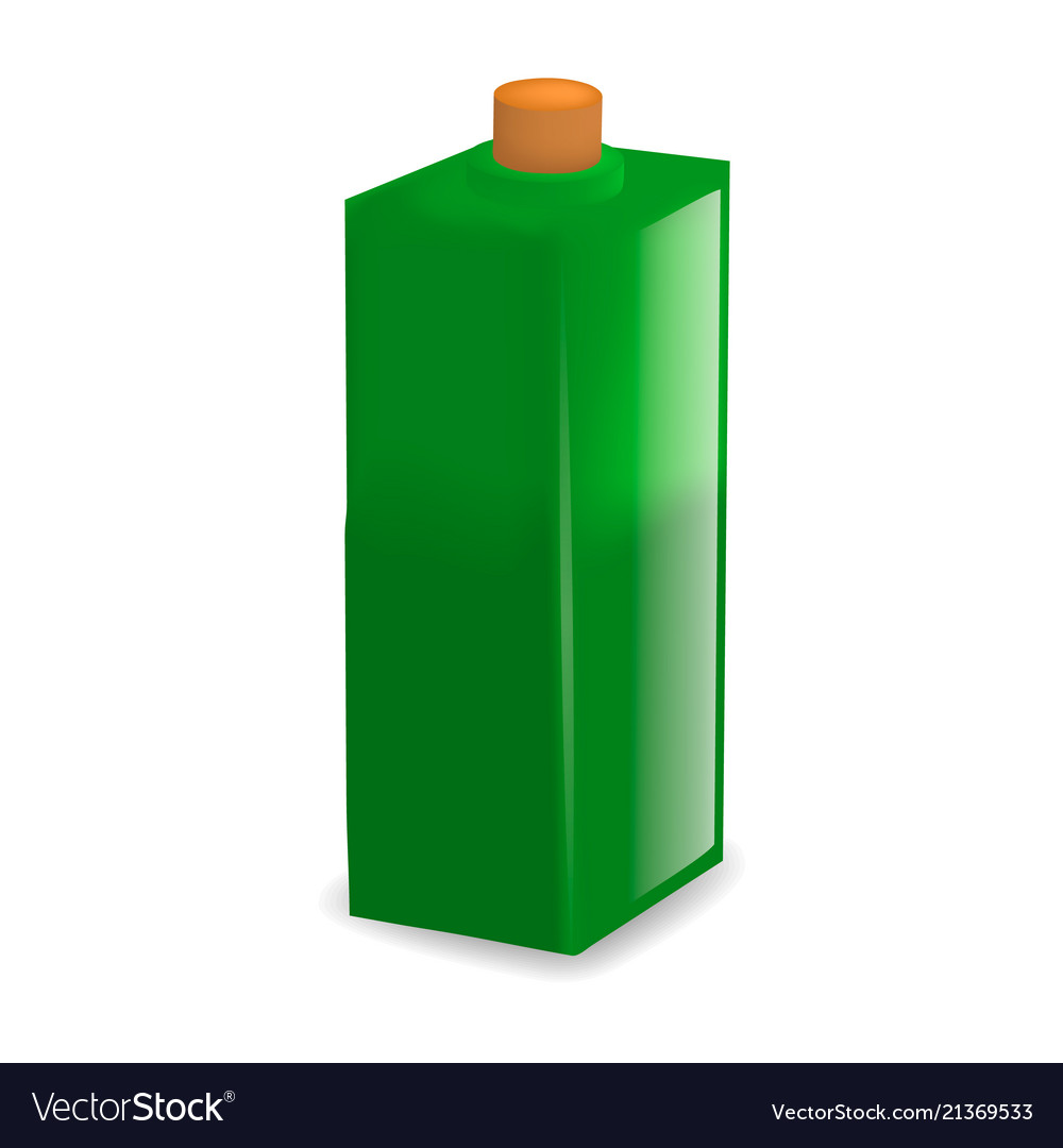 Green glass bottle mockup realistic style