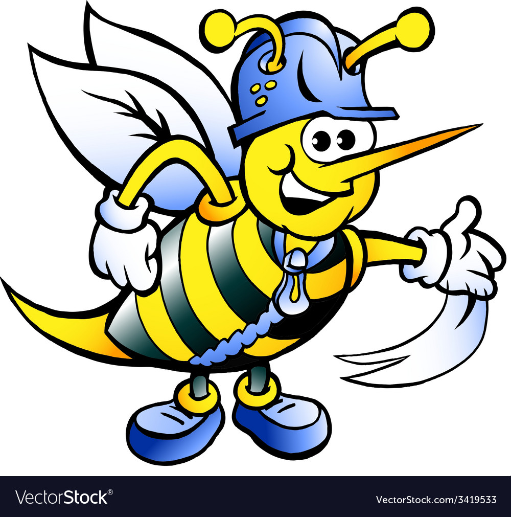 Hand-drawn of an Happy Working Bee