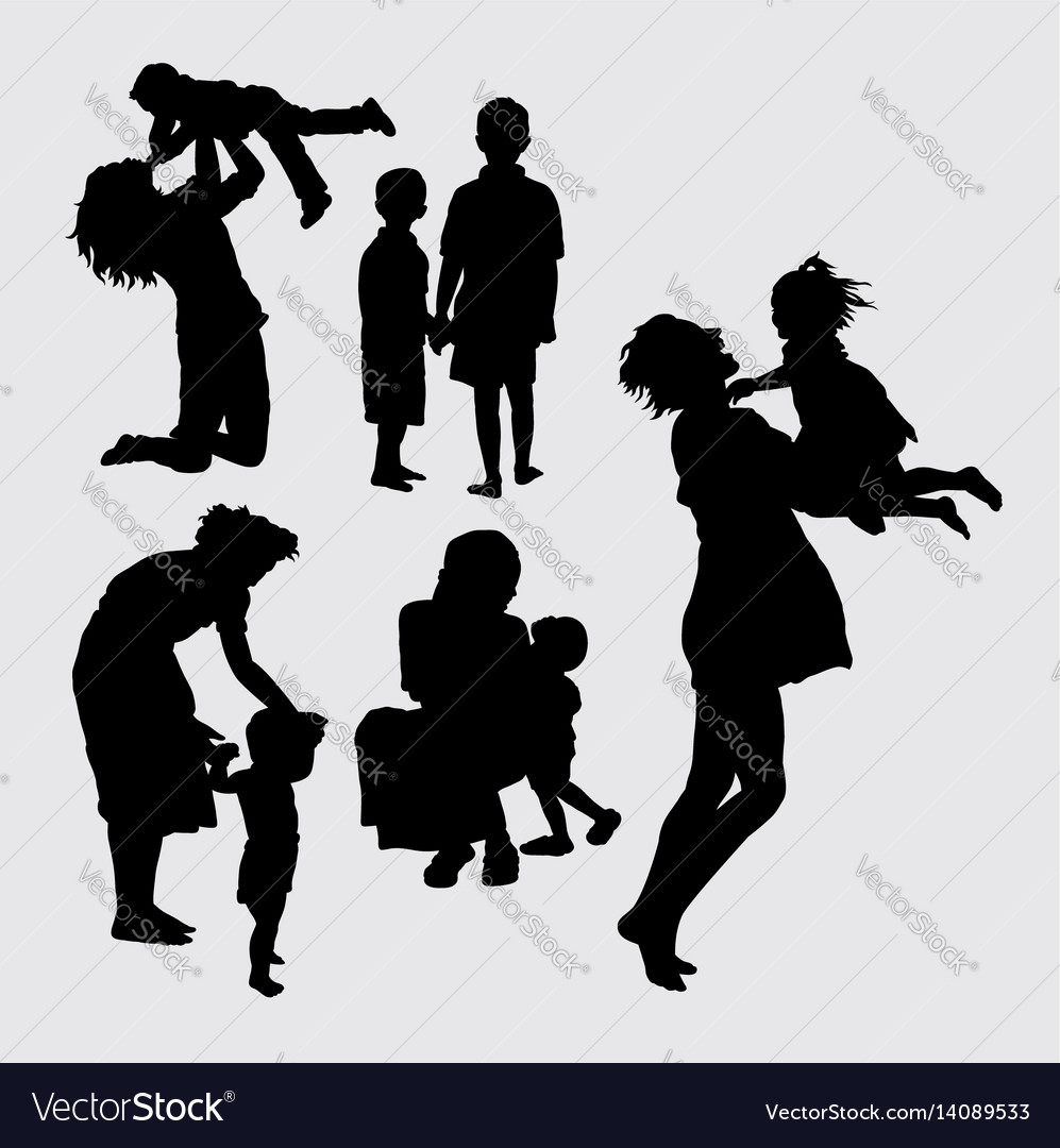 Happy family playing silhouette