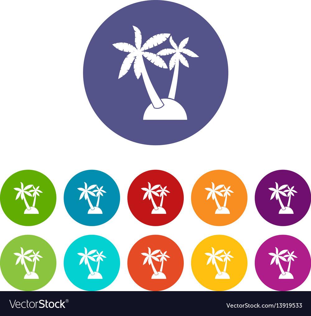 Palm trees set icons