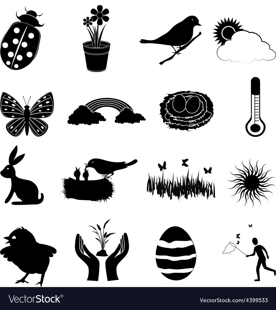 Spring season icons set