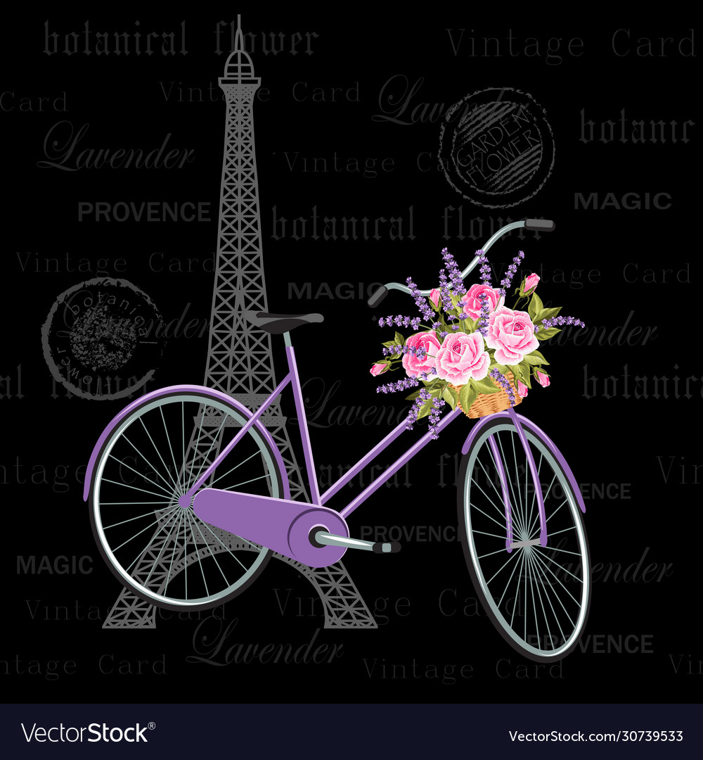 Vintage postcard with eiffel tower and bicycle
