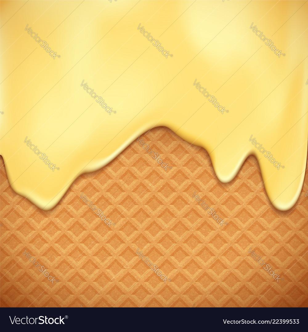 Waffles with vanilla chocolate dessert background