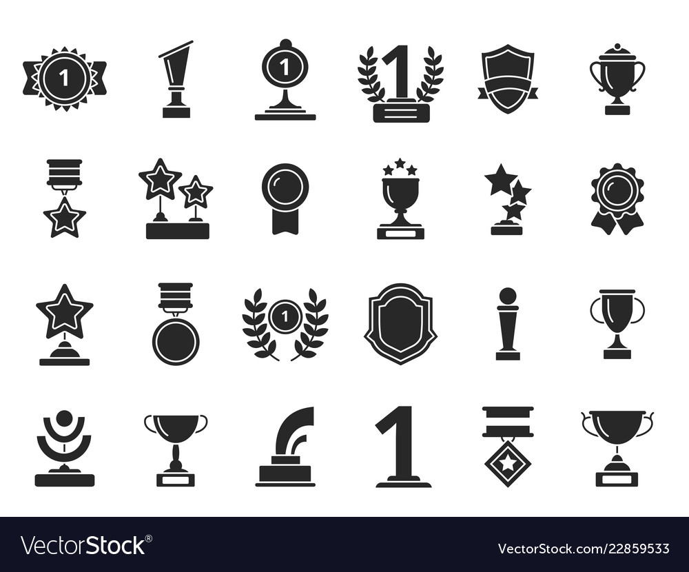 Winners trophies icons cups awards medals with