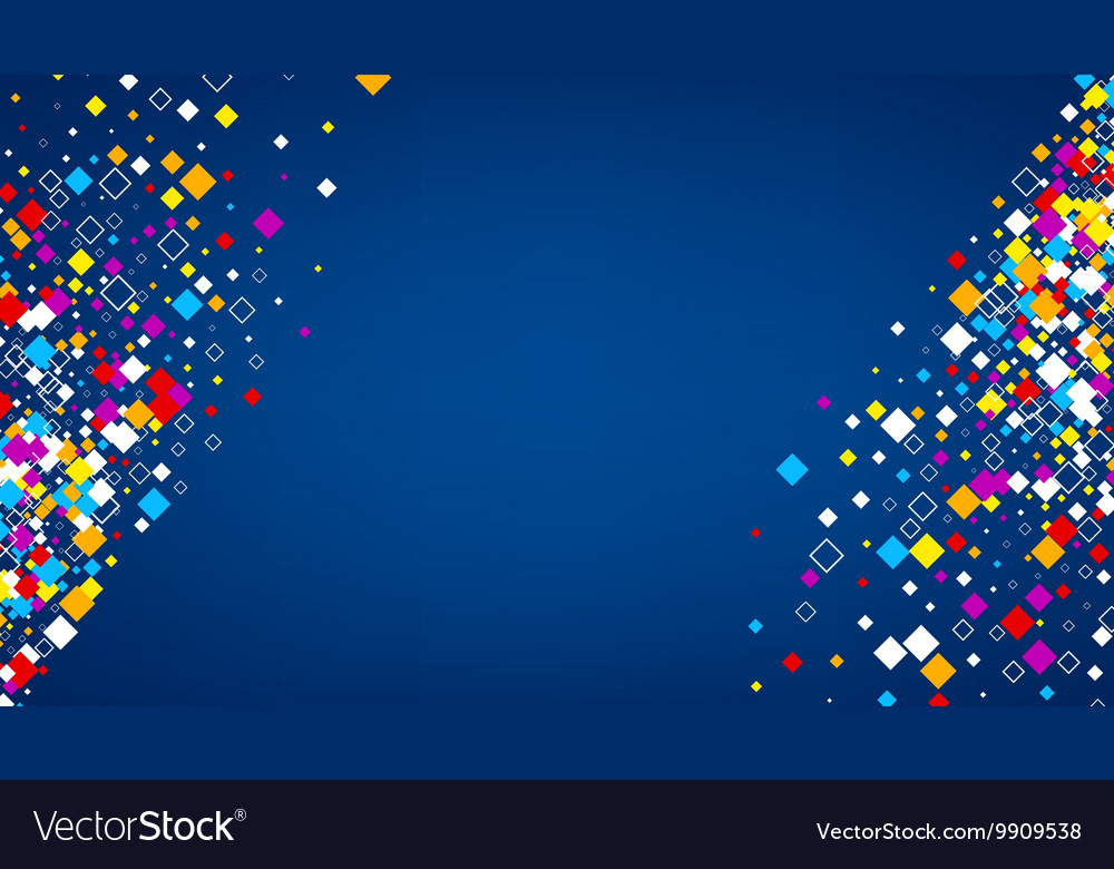 Blue background with color rhombs vector image