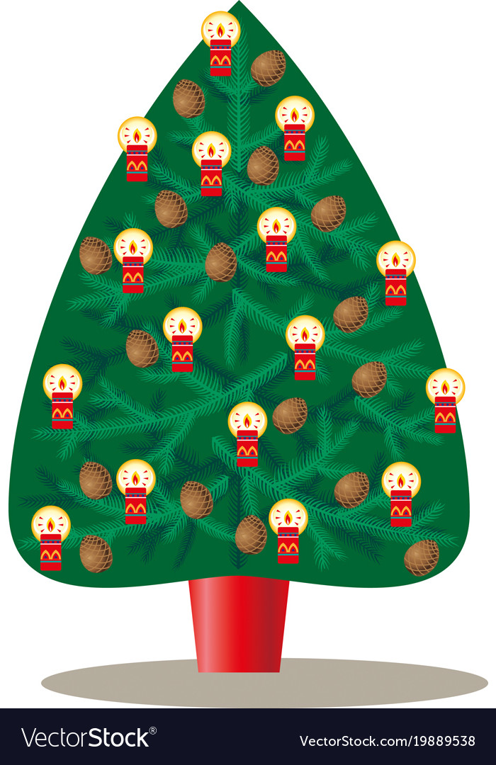 christmas tree decorated with pine cones and vector image - Christmas Tree With Pine Cones