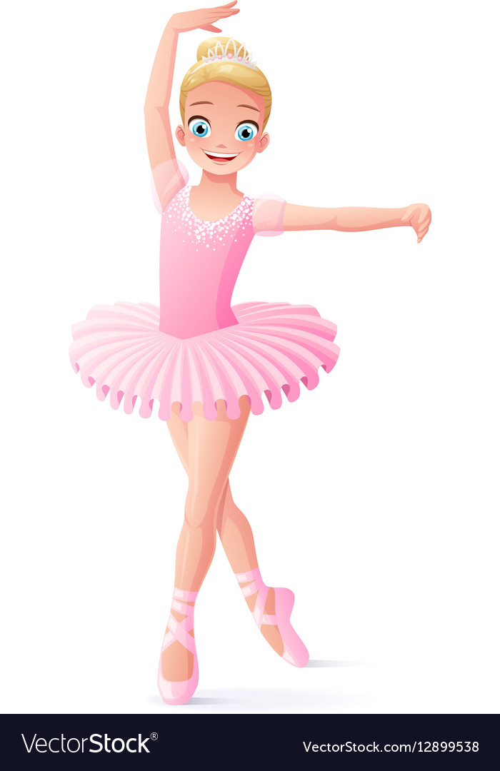 Cute smiling young dancing ballerina girl