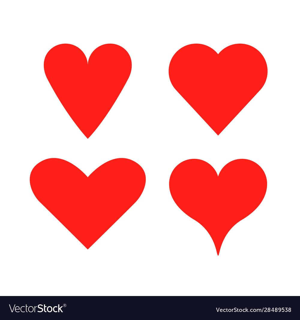 Heart shape love icon red heart set