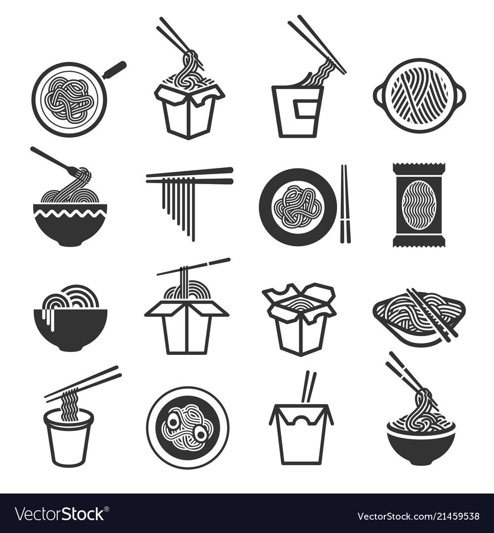 Instant noodles icon set