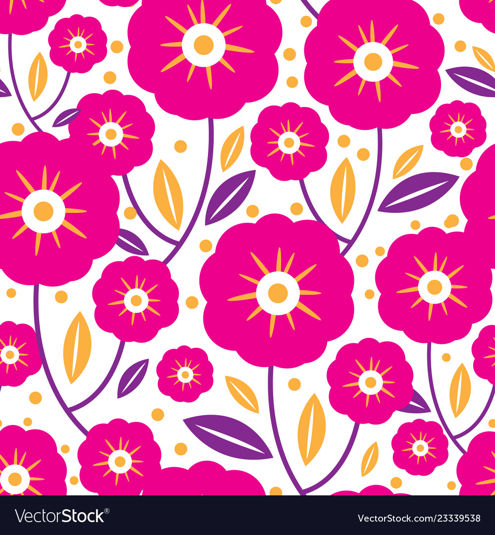 Pink folk flowers and leaves seamless pattern