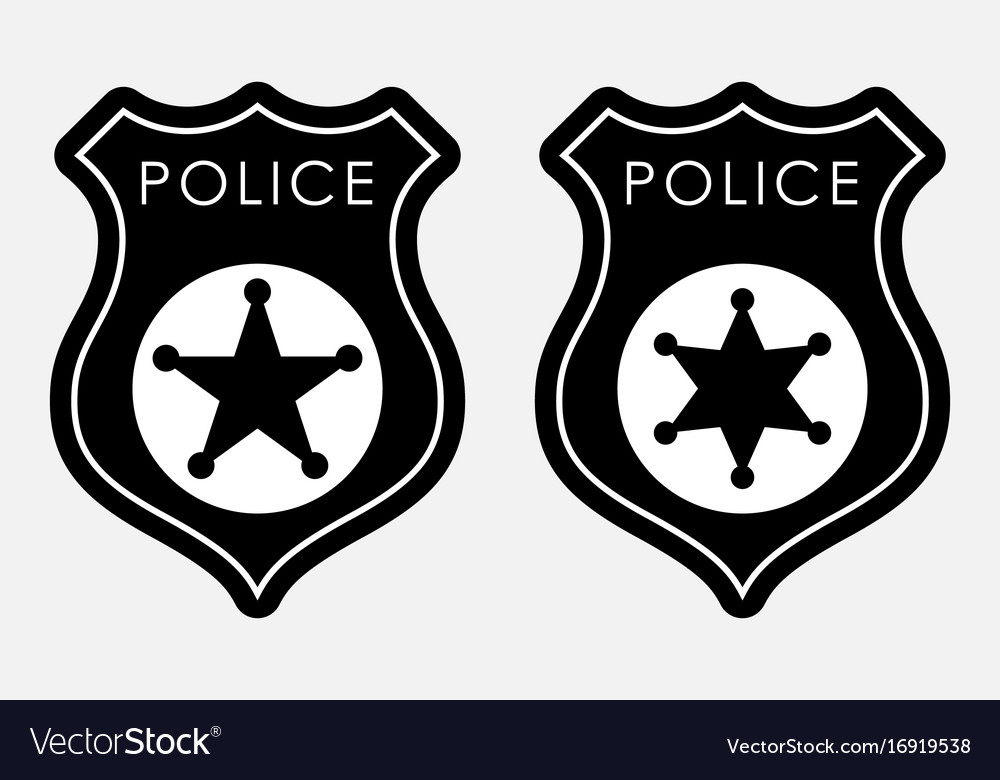 Police Badge Simple Monochrome Sign Royalty Free Vector