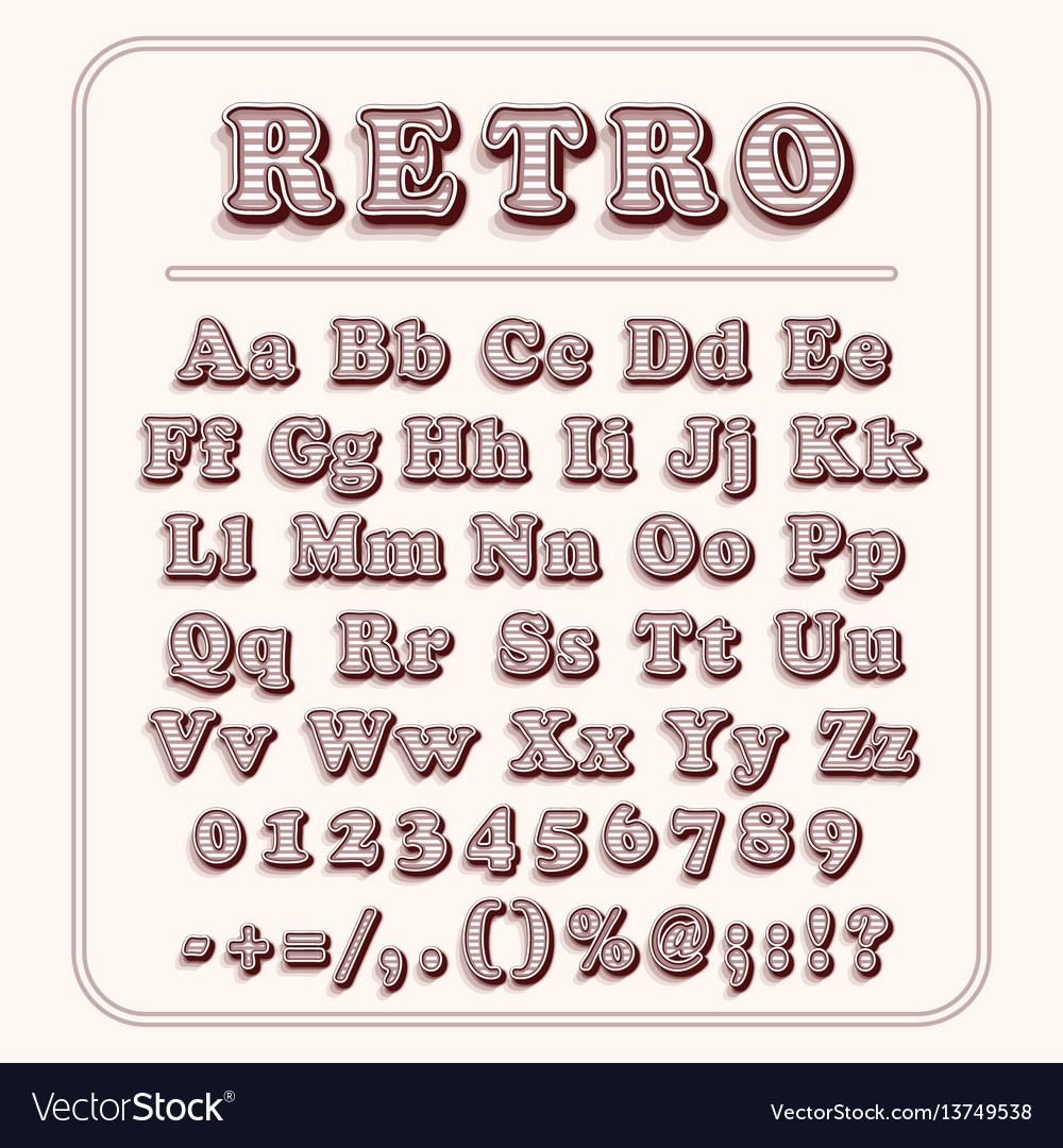 Retro font on light red background the alphabet