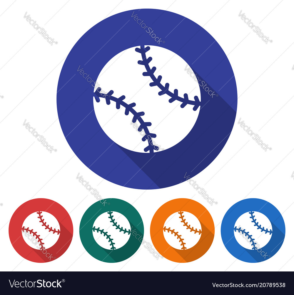 Round icon of baseball flat style with long