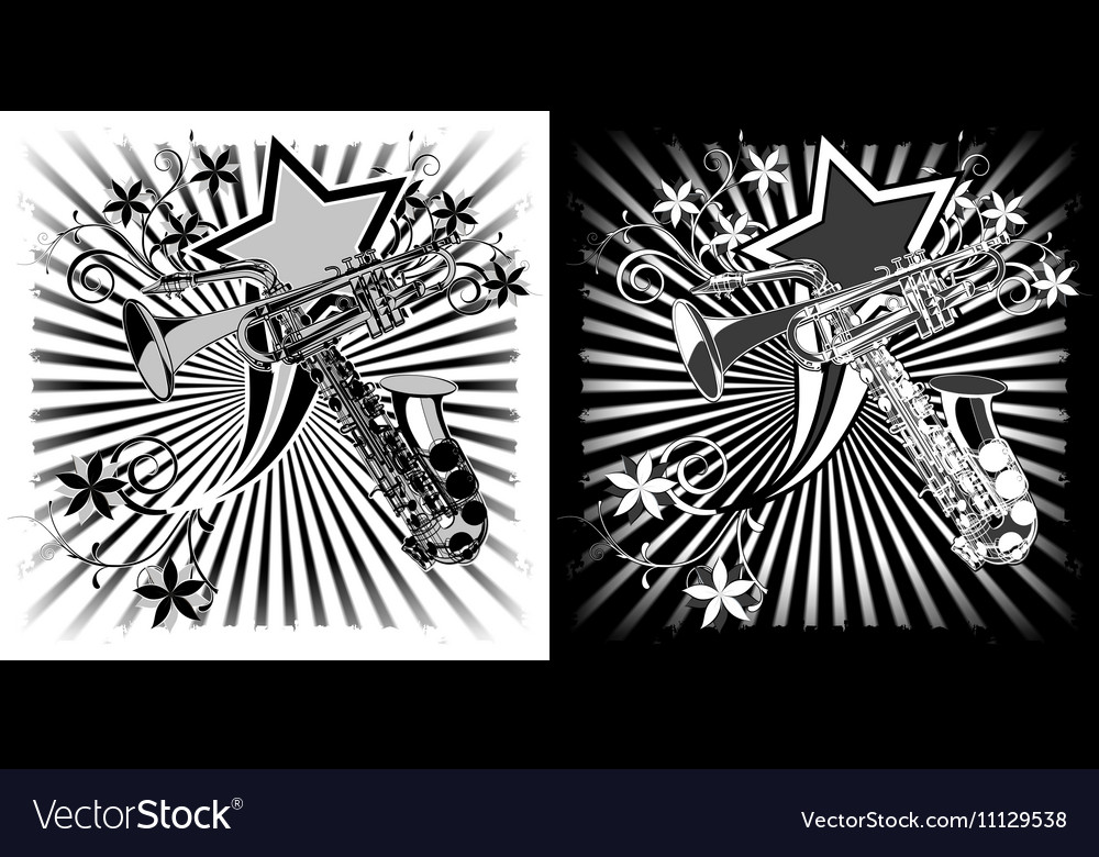 Saxophone and trumpet black white clipart
