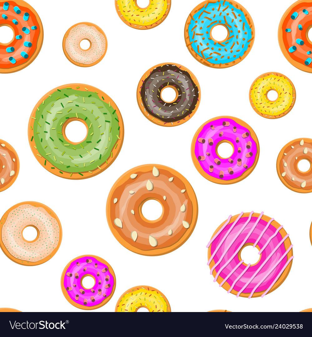 Seamless donut cake set pattern