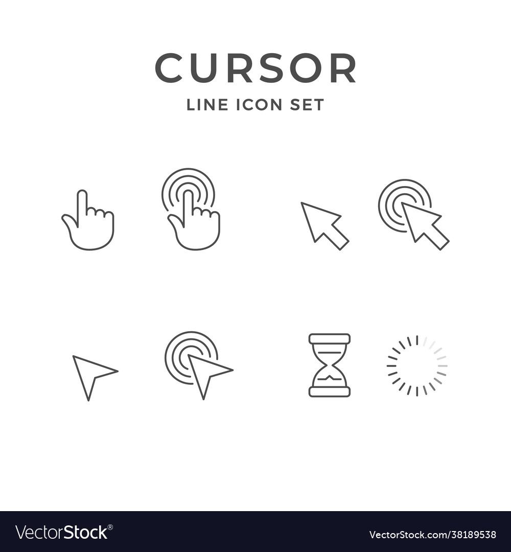 Set line icons cursor click