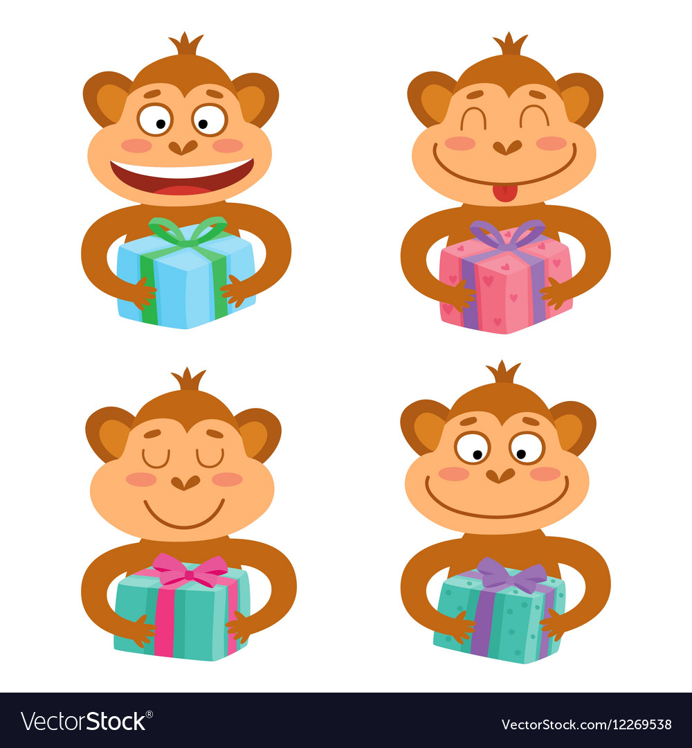 set with monkey emotion faces with gifts vector image