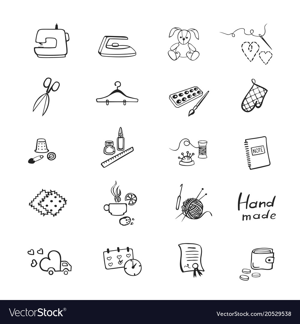 Set with outline icons of sewing equipment and