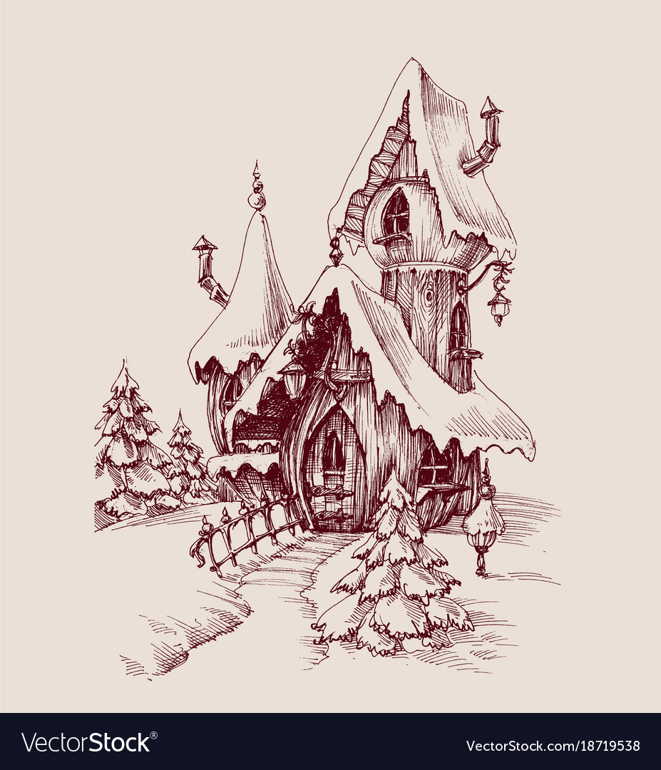 Snow Castle Drawing Fantasy House Royalty Free Vector Image