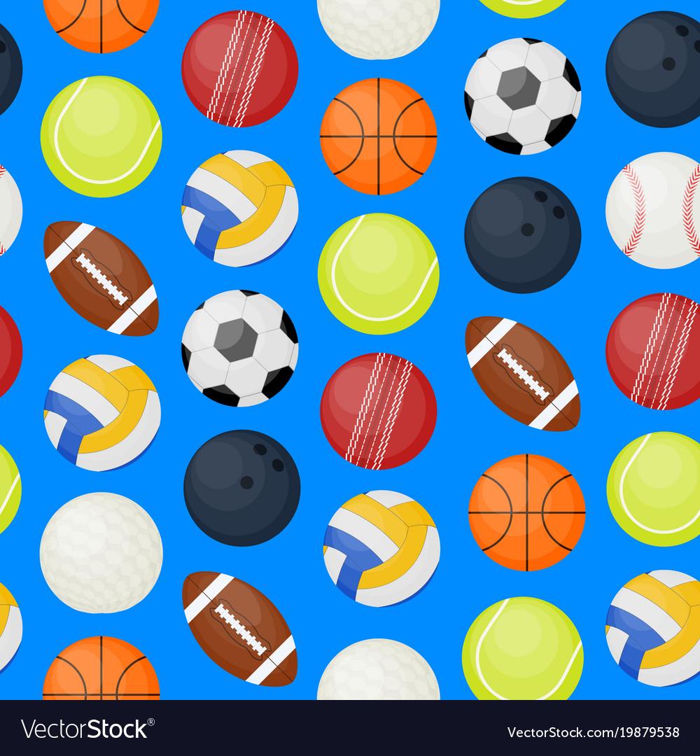 Sports balls seamless pattern background