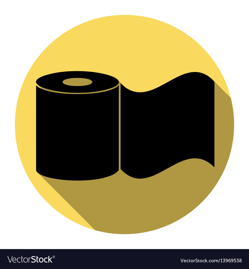 Toilet paper sign flat black icon with