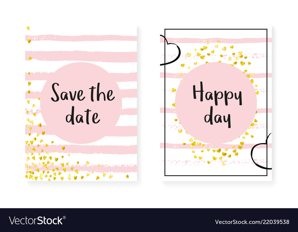 Wedding invitation set with dots and sequins