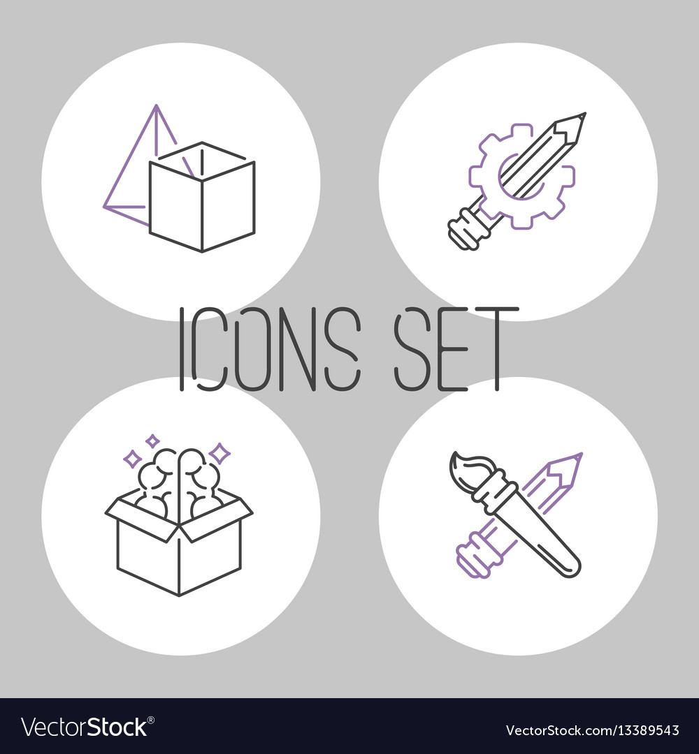 Art icons set design linear