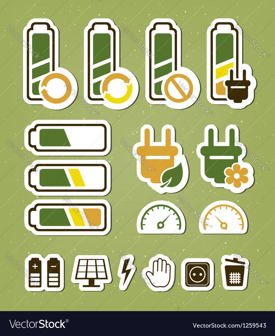 Battery recycling icons set vector image