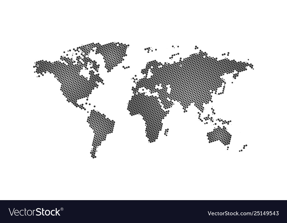Black halftone hexagon dotted world map dotted