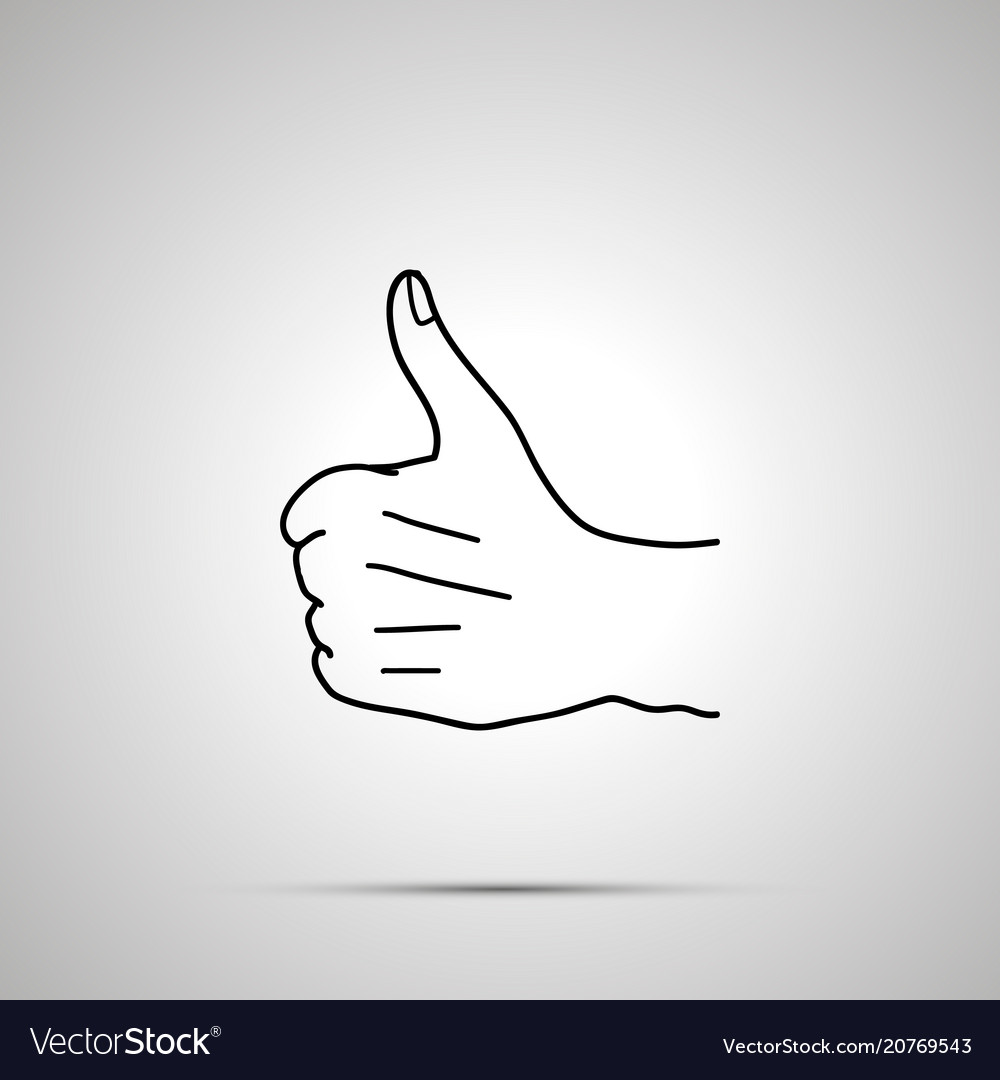Cartoon hand in thumbs up gesture simple outline