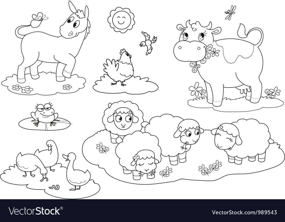 Coloring farm animals Royalty Free Vector Image